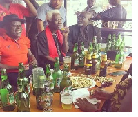 Fred Amugi, Kofi Adjorlolo with others spotted making merry at the funeral of late Nii Odoi.