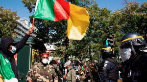Anti-government protests were also held near Cameroon's embassy in Paris