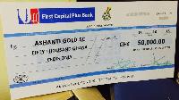 AshantiGold receive cheque