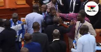 Some MPs during the brawl that happened yesterday at Parliament