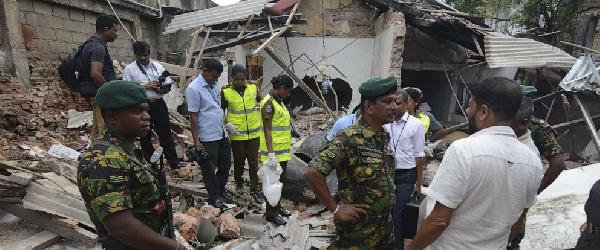 A view of a blast site near the Dehiwala Zoo near Colombo, Sri