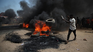 Bonfire on the Kaduna-Abuja highway in Gauruka, near Abuja, Nigeria