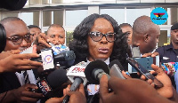 Attorney General, Gloria Akuffo speaking to the media