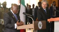 President Nana Addo Dankwa Akufo-Addo with Italian Prime Minister Paolo Gentiloni