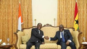 Alassane Ouattara, President of Cote D'Ivoire (L)  & Akufo Addo, president of Ghana