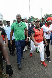 Nana Oye Lithur  with Naser Mahama Toure at the Health walk