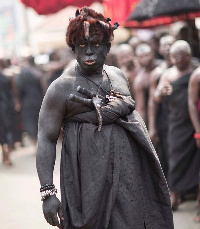 File photo: a royal executioner at the funeral grounds of Asantehemaa