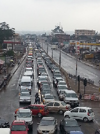 An ongoing project at the location causes heavy traffic jam before,during and after rush hours