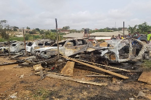 A shot of some of the burnt vehicles