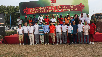 Some participants of the Ghana-China Friendship Golf Invitational Tournament in a group photograph