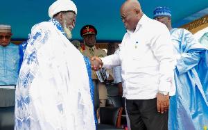 President Nana Addo Dankwa Akufo-Addo in a handshake with Chief Iman Sharubutu