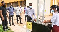 The solar-powered automatic handwashing station