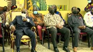President Akufo-Addo with Alan Kyerematen and Owusu Afriyie Akoto at the Manhyia Palace