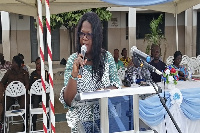 Headmistress of the school, Mrs Evelyn Amoamah Antwi delivering her speech