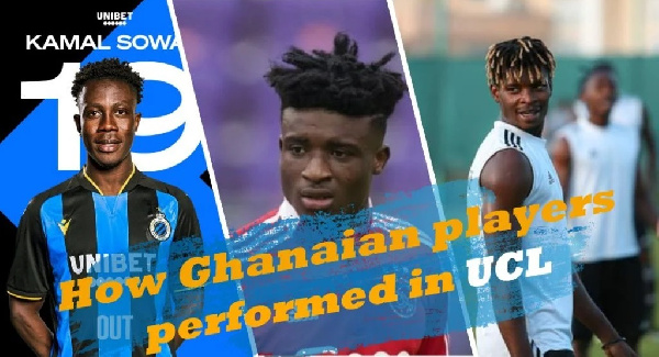 Ghanaians in Champions League: Edmund Addo, Kamal Sowah in action as Mohammed Kudus benched