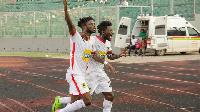 Asante Kotoko players celebrating in the win over Rahimo FC.