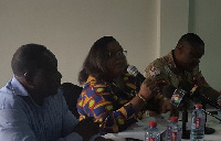 From R: Dr Nii Nortey Hanson-Nortey, Dr Gloria Quansah Asare with other dignitaries at a briefing