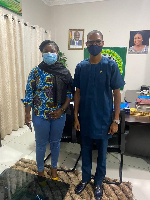 Francis–Xavier Sosu and the Municipal Chief Executive Dede Adjabeng in a photo