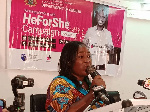 Acting National Director for Gender, Thywill Eyra Kpe, delivering a speech