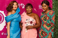 Zynnell Zuh, Mimi Adani and Rebecca Donkor at Golden Movie Awards nominations party