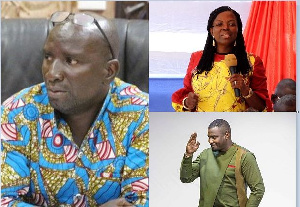 Socrate Sarfo (L), Lydia and John Dumelo (R)
