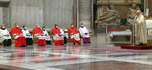 Pope Francis addressing new cardinals at the St. Peter Basilica on Saturday.