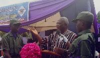 Ho Municipal Chief Executive, Nelson Akorli addressing students