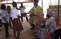 The girls presenting their Petition at the Nangodi Palace