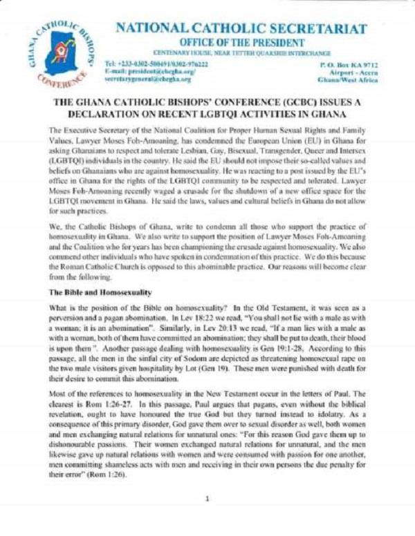 Close down LGBTQI office now - Catholic Church to Akufo-Addo 2