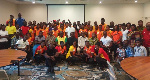 Group photograph of the athletes and officials with the delegation from the Ghana