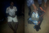 The unidentified man with the alleged severed human head in a bag