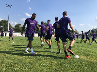 Kevin training with his new teammates