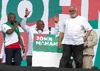 Former President Rawlings with some NDC functionaries at a rally in 2016