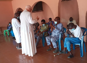 The prayer session was led by Father Andrews Campbell, Head of the Weija Leprosarium