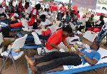 People participating in a blood donation exercise