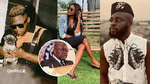 From L-R: Rapper Medical, Yvonne Nelson, M.anifest (Nana Addo insert)
