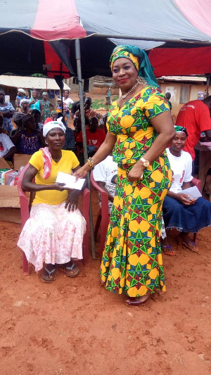 Queenstar Pokuah Sawyerr gave out the loans to the women herself