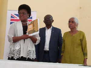 Madam Malonin Asibi (L),  Prof Felix Asante(M) and Dr Nata Duvvury(R)