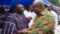 Vice President, Bawumia shakes hands with former President Mahama