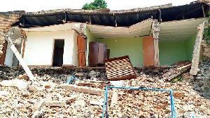 A destroyed structure in Rwanda's Rubavu District