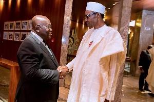 President Nana Addo Dankwa Akufo-Addo exchanging pleasantries with President Muhammadu Buhari