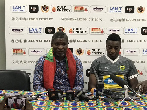 Coach Maxwell Konadu with Captain Felix Annan at post match conference