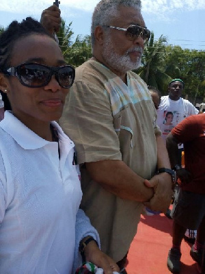 Former President Rawlings and his daughter Zanetor at the campaign launch today