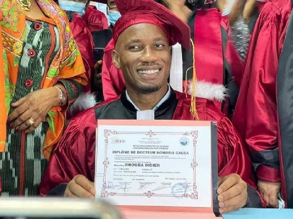 Drogba at the award ceremony in Abidjan