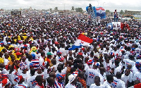 Hundreds of supporters of the NPP on Friday night celebrated the party's historic victory