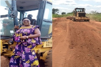 Susan Akomeah inspecting progress of work within her Municipality