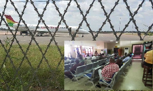 The plane on the tarmac at the Tamale Airport. [Inset] The stranded passengers