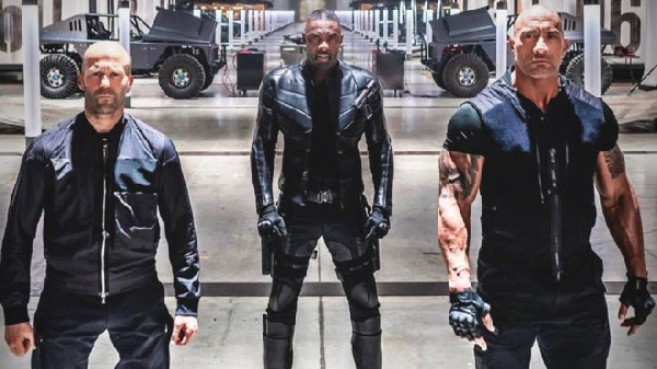 Left-Right: Jason Statham, Idris Elba and Dwayne Johnson