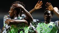 Nigeria celebrating after scoring