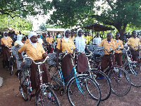 Some students with their bicycles